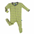 Kickee Pants Bamboo Footie in Meadow Cow - last one size 18-24M!