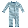 Kickee Pants Coverall in Boy Animal Stripe -size 0-3M left!
