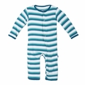 Kickee Pants Coverall in Boy Dino Stripe