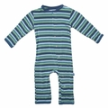 Kickee Pants Coverall in Boy Ocean Stripe