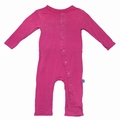 Kickee Pants Coverall in Flamingo