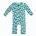 Kickee Pants Coverall in Lagoon Scales