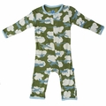 Kickee Pants Coverall in Moss Airplane - size 0-3M left!