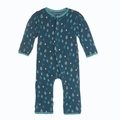 Kickee Pants Coverall in Peacock Rain Drops
