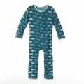Kickee Pants Coverall in Peacock Saber Tooth Cat