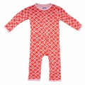 Kickee Pants Coverall in Poppy Geo Lattice