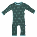 Kickee Pants Coverall in Seaweed Compass