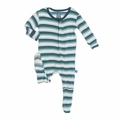 Kickee Pants Footie in Boy Dino Stripe