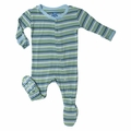 Kickee Pants Footie in Boy Sail Away Stripe - size 0-3M left!