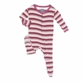 Kickee Pants Footie in Girl Dino Stripe