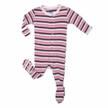 Kickee Pants Footie in Girls Bobsled Stripe
