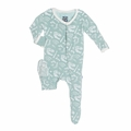 Kickee Pants Footie in Jade Bones - size 0-3M left!