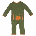 Kickee Pants Holiday Applique Coverall in Moss Pumpkin - size 0-3M left!