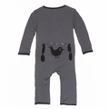 Kickee Pants Holiday Applique Coverall in Stone Blackbird