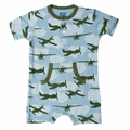 Kickee Pants Kangaroo Romper in Pond Airplane