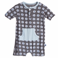 Kickee Pants Kangaroo Romper in Stone Beach Ball