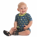 Kickee Pants Kangaroo Romper in Twilight Frigate - size 18-24M left!