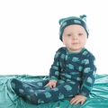 Kickee Pants Layette Gown & Double Knot Hat Set in Peacock Mammoth - size 3-6M left!