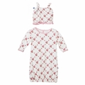 Kickee Pants Layette Gown & Ruffle Knot Hat Set in Natural Rose Trellis - size 3-6M left!