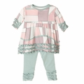 Kickee Pants Long Sleeve Babydoll Outfit Set in Land Quilt
