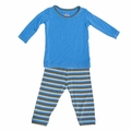 Kickee Pants Long Sleeve Pajama in River Stripe For Boys - last one size 4!