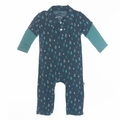 Kickee Pants Long Sleeve Polo Romper in Peacock Rain Drops - sizes 0-3M left!