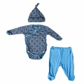 Kickee Pants Newborn Gift Set in Stone River Lattice - size 3-6M left!