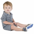 Kickee Pants Polo Romper in Stone Trellis - size 0-3M left!