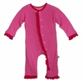 Kickee Pants Ruffle Coverall in Bubblegum