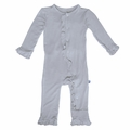 Kickee Pants Ruffle Coverall in Pearl