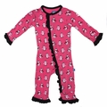Kickee Pants Ruffle Coverall in Winter Rose Penguin - last one size 4T!