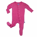 Kickee Pants Ruffle Footie in Flamingo
