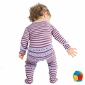 Kickee Pants Ruffle Footie in Lavendar Stripe