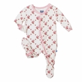 Kickee Pants Ruffle Footie in Natural Rose Trellis