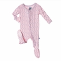 Kickee Pants Ruffle Footie in Sweet Pea Lattice