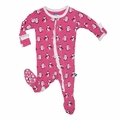Kickee Pants Ruffle Footie in Winter Rose Penguin