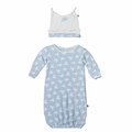 Kickee Pants Ruffle Layette Sack & Knot Hat Set in Pond Flying Birds