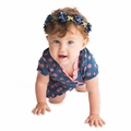 Kickee Pants Ruffle Romper in Twilight Dot - last one size 0-3M!