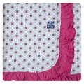 Kickee Pants Ruffle Stroller Blanket in Pond Flower Lattice