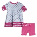 Kickee Pants Short Sleeve Babydoll Outfit Set in Pond Flower Lattice - size 3T left!