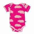 Kickee Pants Short Sleeve Onesie in Calypso Hippo
