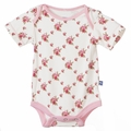 Kickee Pants Short Sleeve Onesie in Natural Rose Trellis - size 12-18M left!