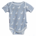 Kickee Pants Short Sleeve Onesie in Pearl Duck - last one size 12-18M!