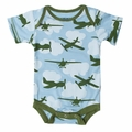 Kickee Pants Short Sleeve Onesie in Pond Airplane