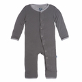 Kickee Pants Solid Coverall in Rain with Feather Contrast Trim