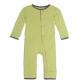 Kickee Pants Solid Coverall in Willow with Rain Contrast Trim - size 0-3M left!