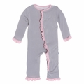 Kickee Pants Solid Ruffle Coverall in Feather with Lotus Contrast Trim - size 3T left!