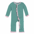 Kickee Pants Solid Ruffle Coverall in Lagoon with Lotus Contrast Trim