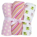 Kickee Pants Swaddling Blanket Set of 3 for Baby Girl