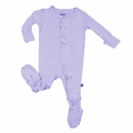 Kicky Pants Ruffle Bamboo Footie in Lilac